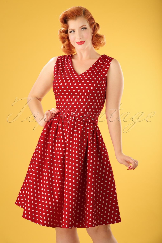 1950s Polka Dot Dresses 50s Wendy Polkadot Swing Dress in Red £20.29 AT vintagedancer.com