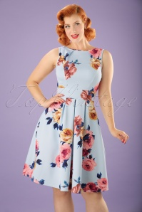 Vintage Chic Fit and Flare Scuba Dress in Sky Blue 102 39 22080 20170614 0008W