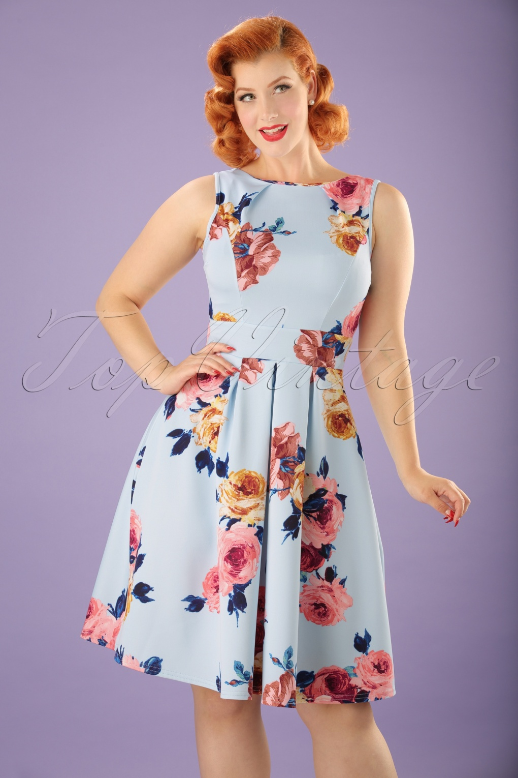 50s Veronica Floral Flare Dress In Sky Blue