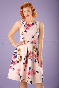 50s Veronica Flare Dress in Pastel Pink