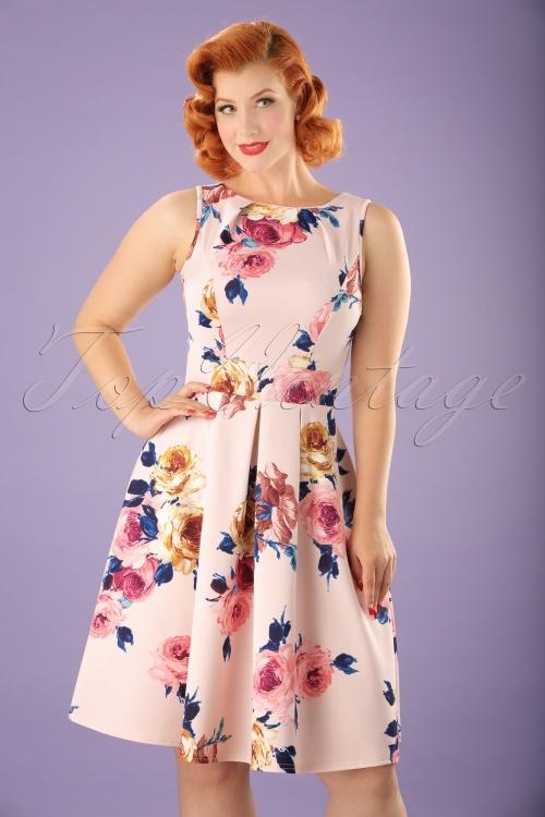 Vintage Chic Queen Anne Scuba Flower Dress in Pink 102 57 21990 20170614 0007W