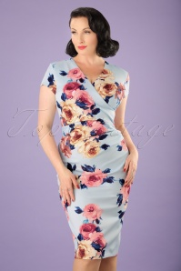 50s Madeline Floral Pencil Dress in Sky Blue