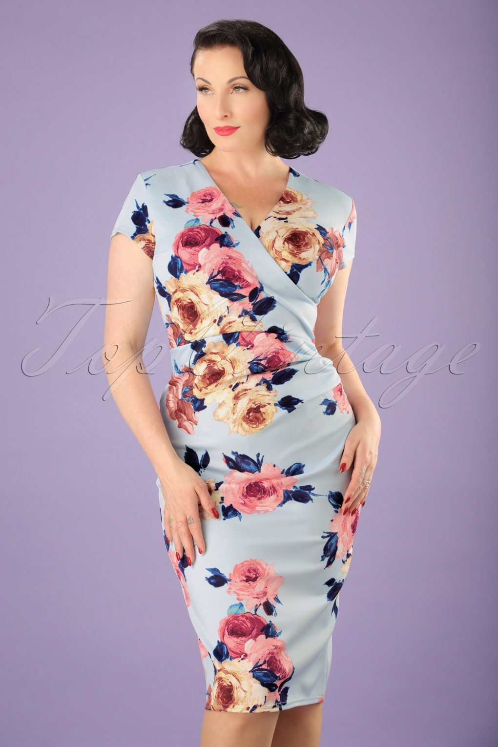 aedeb340b676 50s Madeline Floral Pencil Dress in Sky Blue