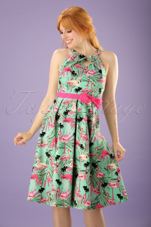 Lindy Bop Flamingo Swing Dress Sample 20170607 0014W