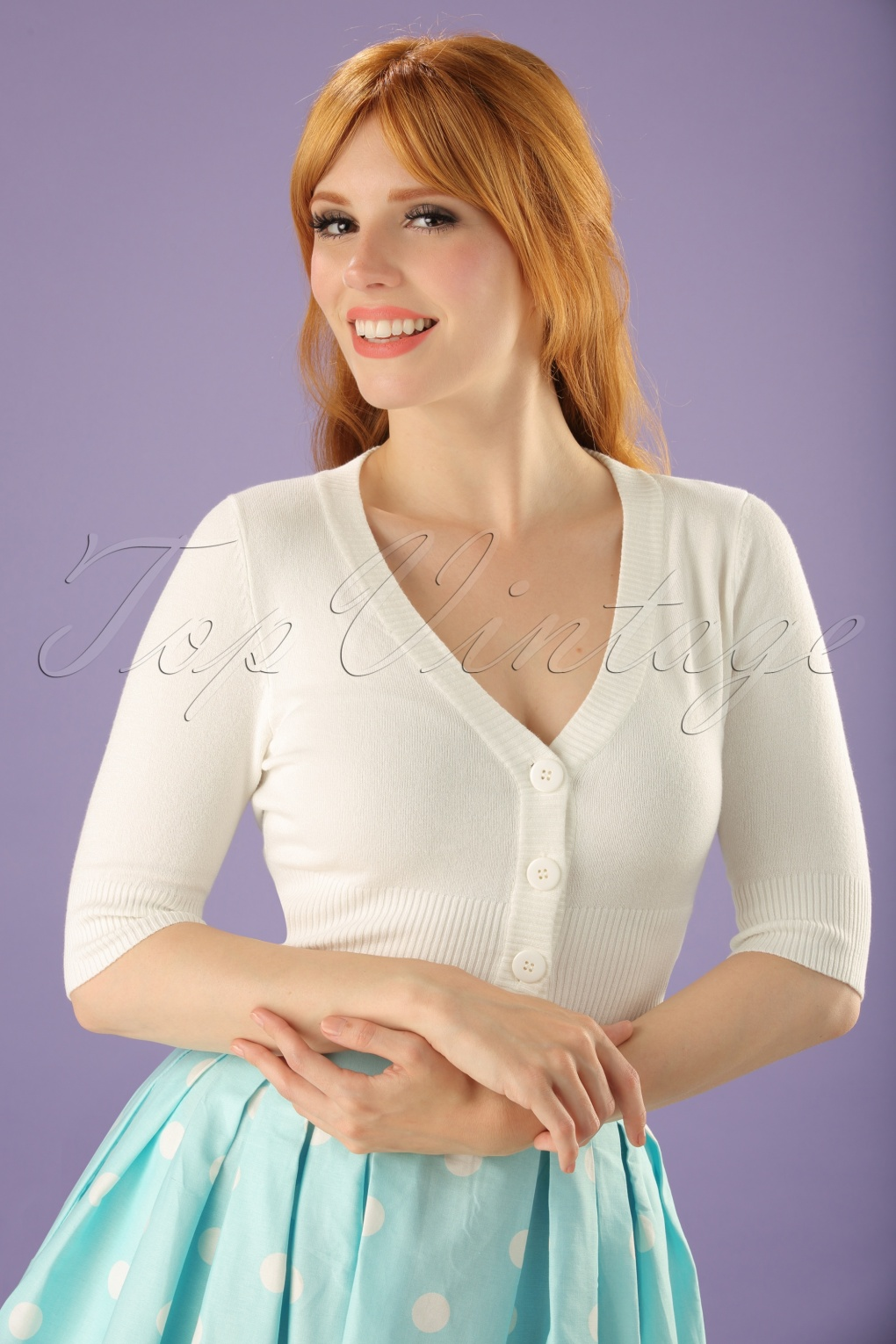 What Did Women Wear in the 1950s? 1950s Fashion Guide 50s Overload Cardigan in Ivory White £26.07 AT vintagedancer.com