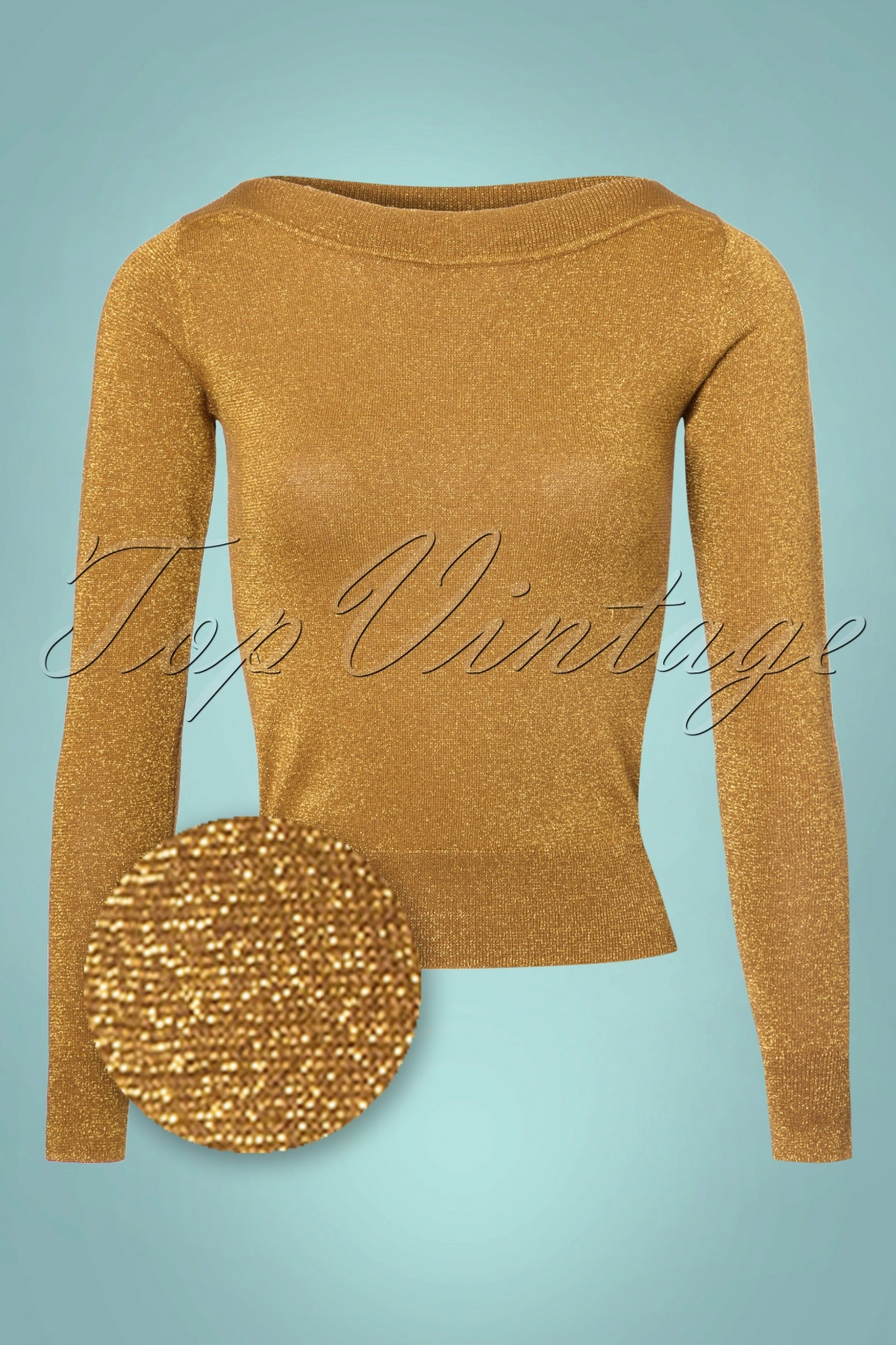 1950s Style Sweaters, Crop Cardigans, Twin Sets 50s Audrey Lapis Top in Mustard Glitter £58.90 AT vintagedancer.com