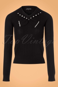 King Louie Collar Bow Knit Top Delight in Black 21205 20170726 0001w