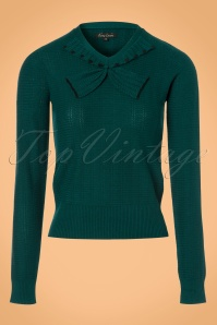 King Louie Collar Bow Knit Top Delight in Dragonfly Green 21207 20170726 0002w