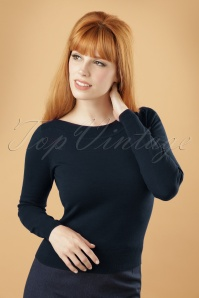 50s Boatneck Cottonclub Top in Dark Navy