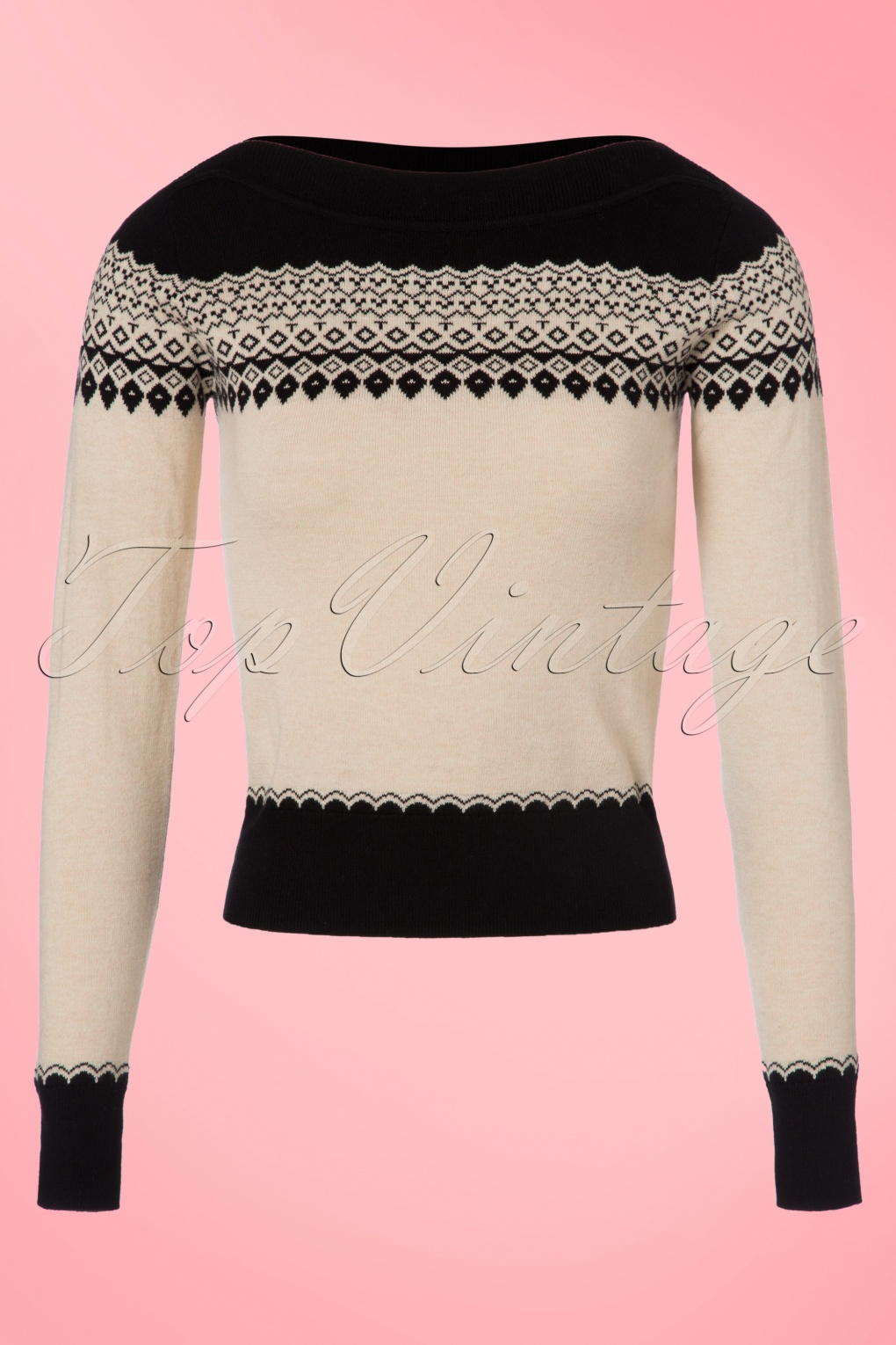 1950s Style Sweaters, Crop Cardigans, Twin Sets 50s Audrey Parker Top in Black and Cream £72.50 AT vintagedancer.com