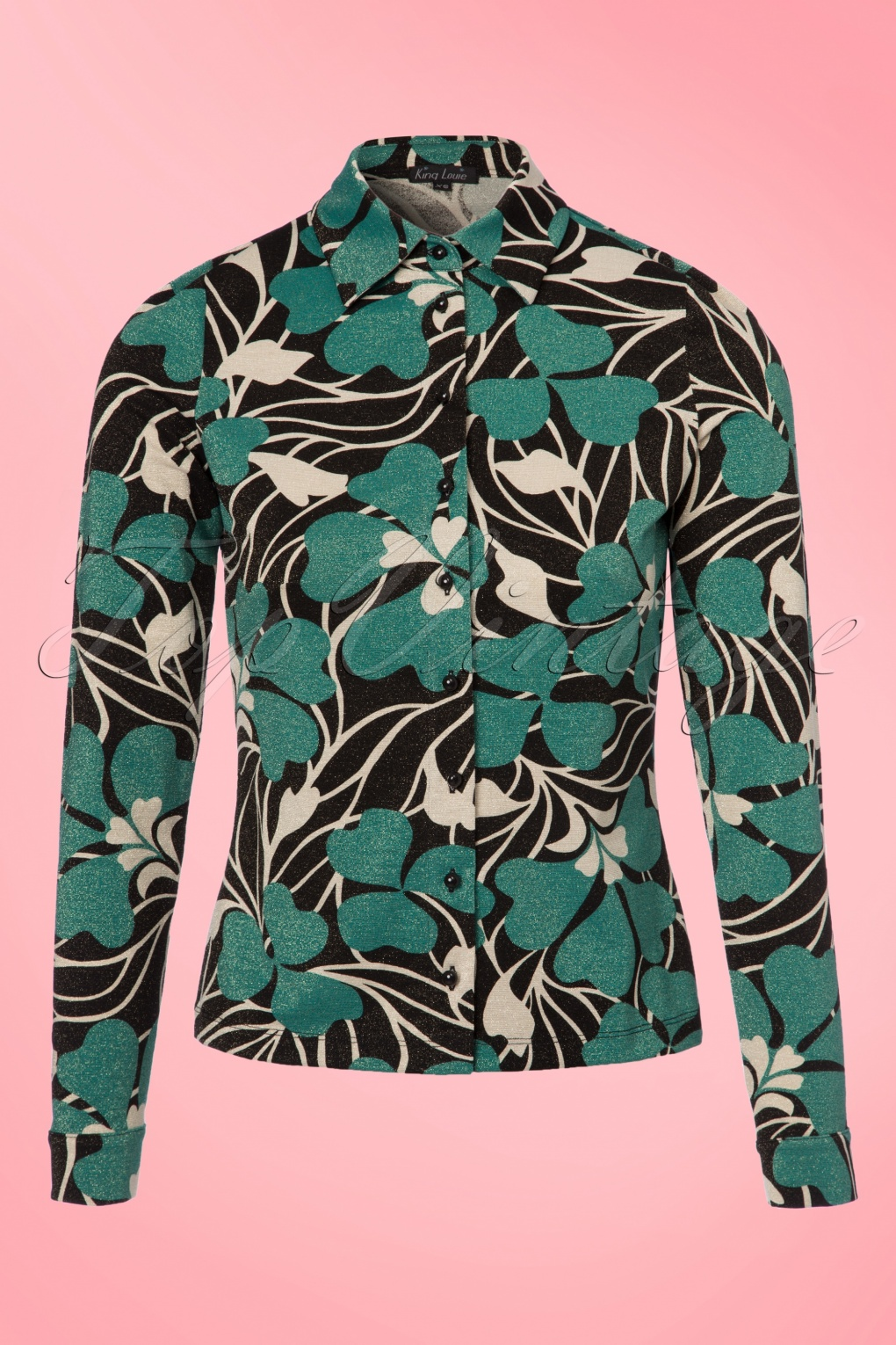 Shop 1960s Style Blouses, Shirts and Tops 60s Shamrock Blouse in Black and Cream £85.87 AT vintagedancer.com