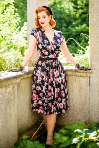 50s Layla Cross Over Floral Swing Dress in Black