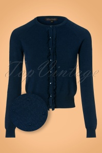 King Louie Roundneck Ruffle Droplet Cardigan in Navy 21210 20170726 0002wv