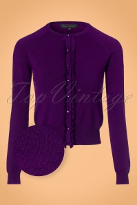 King Louie Roundneck Ruffle Droplet Cardigan in Striking Purple 21211 20170726 0002wv