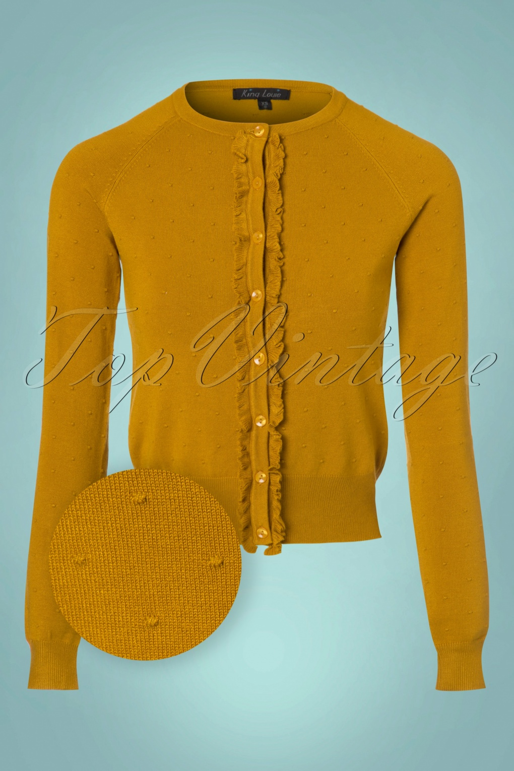 Vintage Sweaters: 1940s, 1950s, 1960s Pictures 60s Ruffle Droplet Fantasy Cardi in Yellow £63.17 AT vintagedancer.com