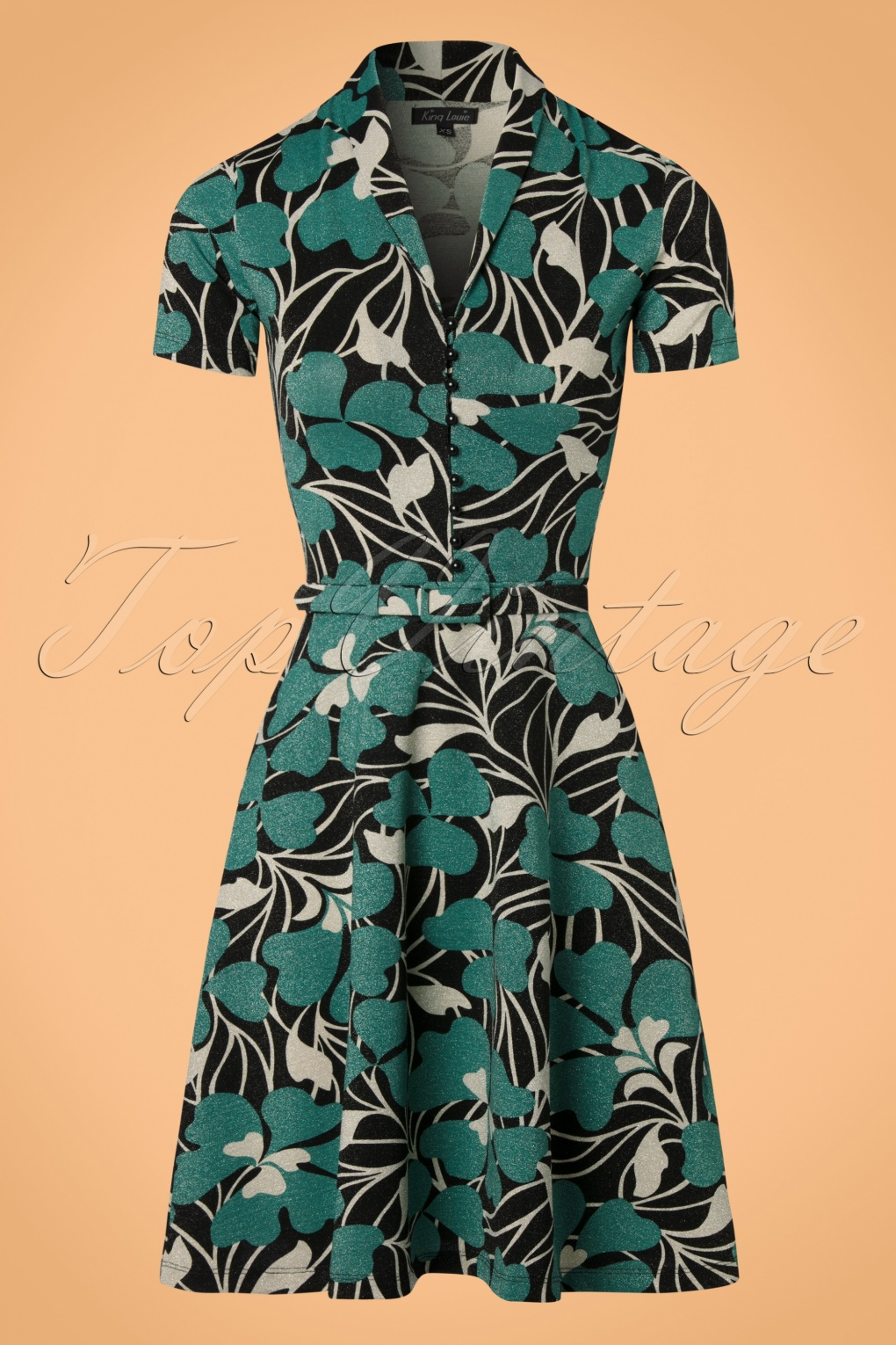 1960s Style Dresses- Retro Inspired Fashion 60s Emmy Shamrock Dress in Black and Cream £103.82 AT vintagedancer.com