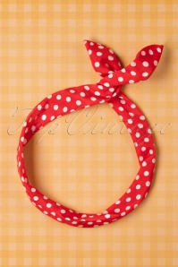 50s Pin-Up Dot Hair Scarf Red & White