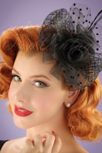 40s Genevieve Polkadot Fascinator in Black