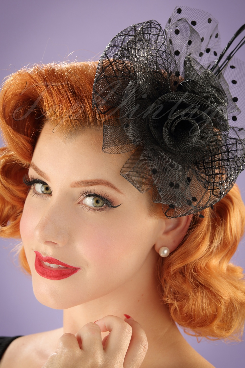 vintage style hair accessories 40s genevieve polkadot fascinator in black 3068