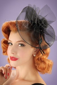 40s Genevieve On Concord Fascinator in Black