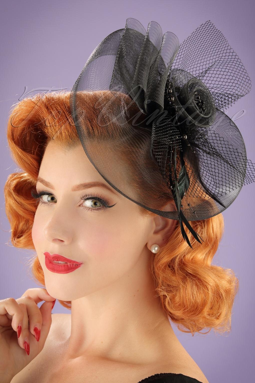 40s Genevieve On Concord Fascinator In Black