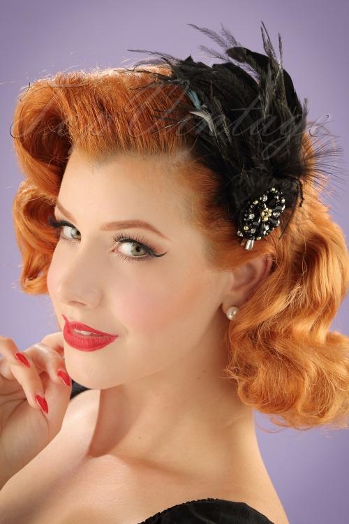 ZaZoo Black Feather Hairclip 201 10 20562 11212016 model01W