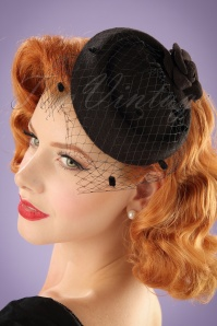50s Jemima Wool Hat in Black