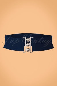 Banned Retro 50s Lauren Retro Stretch Belt in Navy