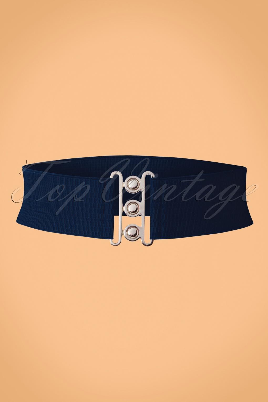 Vintage Wide Belts, Cinch Belts 50s Lauren Retro Stretch Belt in Navy £6.97 AT vintagedancer.com