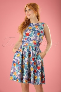Lady V TopVintage Exclusive Tropical Leaves Tea Dress 102 39 21791 20170510 0019W