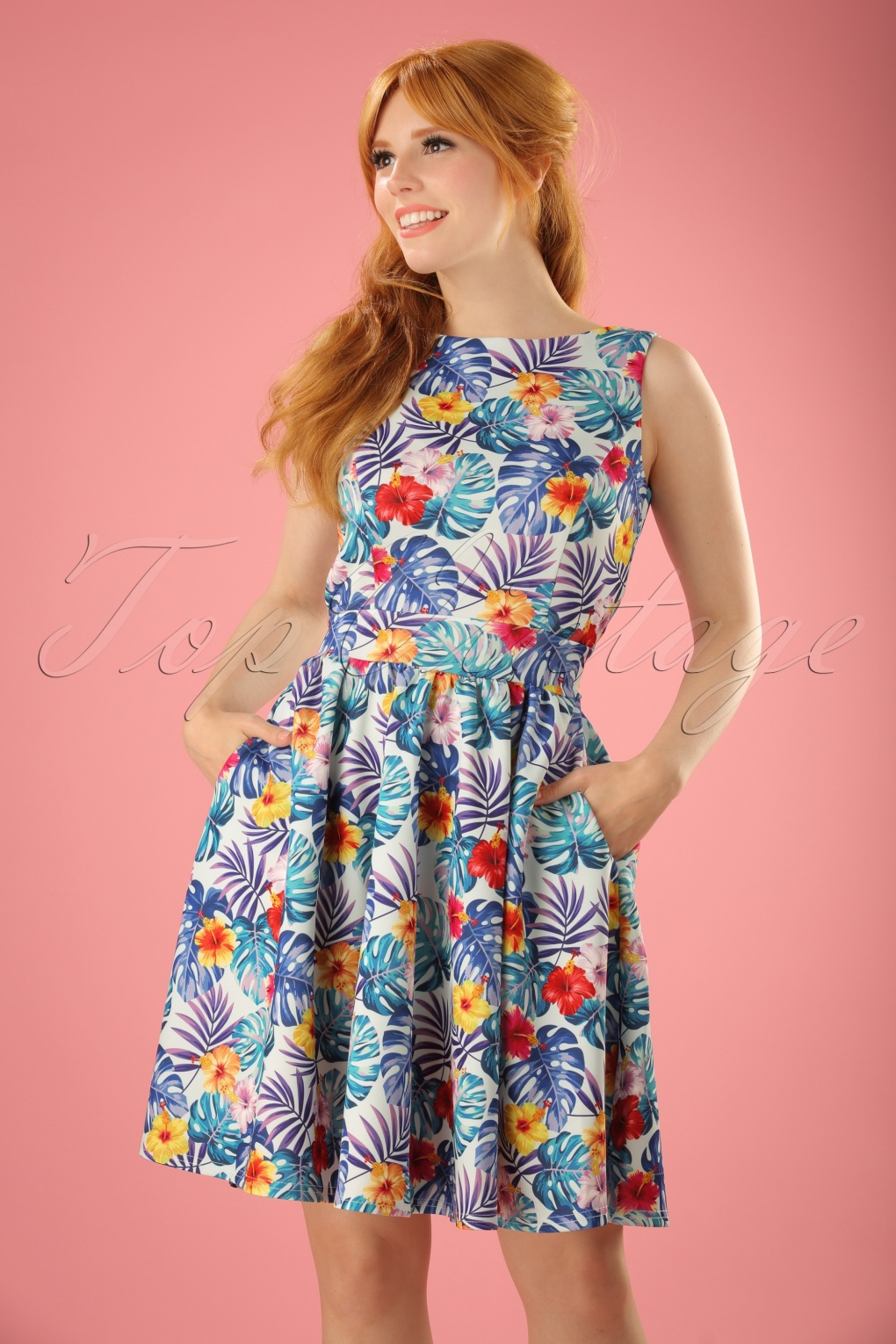 1940s Pinup Dresses for Sale TopVintage exclusive  50s Tea Tropical Leaves Swing Dress in Light Blue £21.88 AT vintagedancer.com