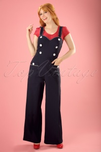 50s Maggie May Nautical Jumpsuit in Navy