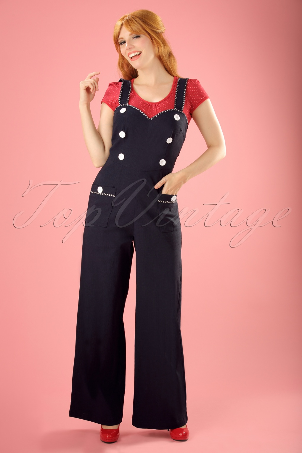 Vintage Overalls 1910s -1950s Pictures and History 50s Maggie May Nautical Jumpsuit in Navy £44.21 AT vintagedancer.com