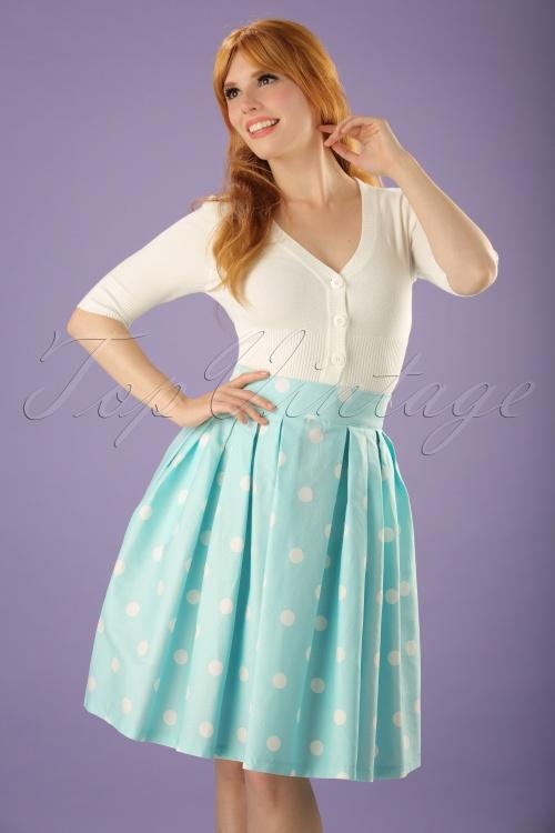 high fashion top design various styles 50s Veronika Polkadot Swing Skirt in Mint
