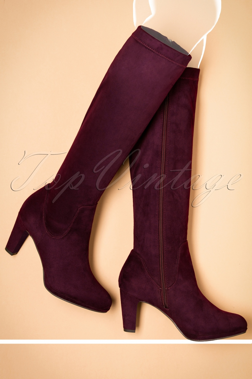 1960s Inspired Fashion: Recreate the Look 70s Priscilla High Suedine Boots in Merlot £61.73 AT vintagedancer.com