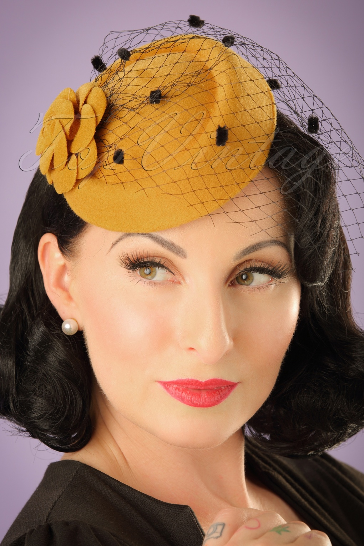 Retro Vintage Style Hats 50s Marilyn Fascinator in Mustard £15.42 AT vintagedancer.com