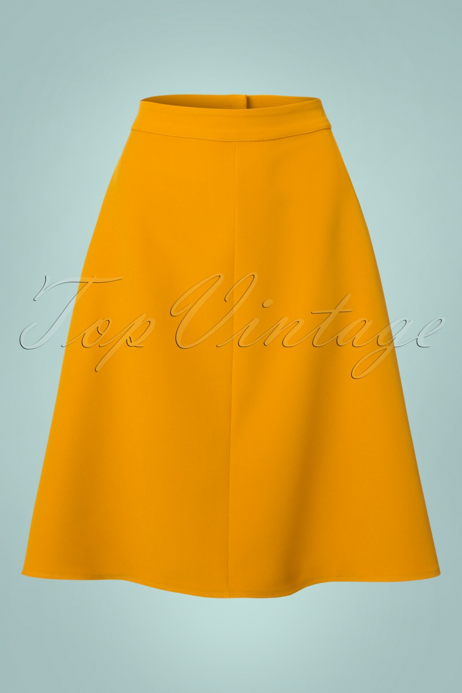 Retro Skirts: Vintage, Pencil, Circle, & Plus Sizes 60s Jill Swing Skirt in Mustard £54.55 AT vintagedancer.com
