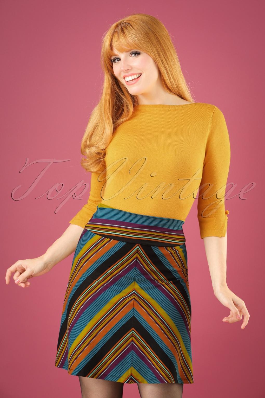 1960s Style Skirts 60s Long Vision Borderskirt in Lake Blue £57.32 AT vintagedancer.com