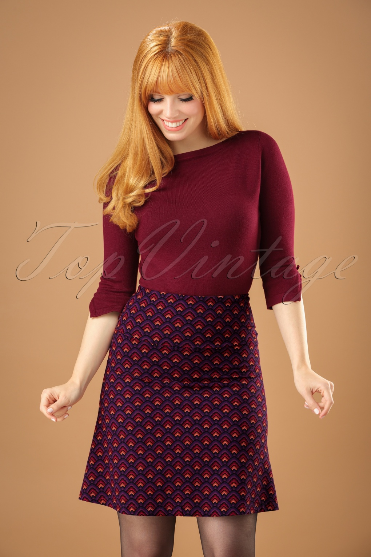 1960s Style Skirts 60s Fuji Borderskirt in Majestic Purple £52.91 AT vintagedancer.com