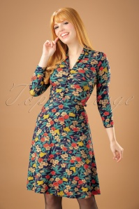 King Louie Emmy Floral Dress in Inkblue 102 39 21204 20170710 01W