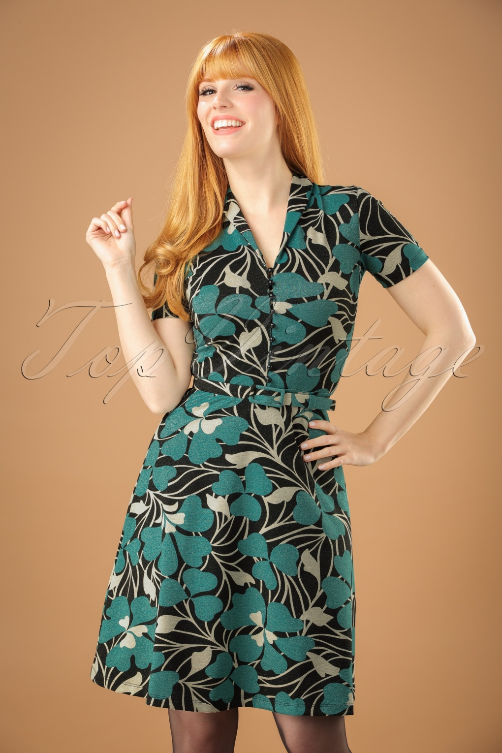 1960s – 70s Dresses- Retro Inspired Fashion 60s Emmy Shamrock Dress in Black and Cream £103.73 AT vintagedancer.com