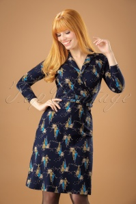 40s Polo Cross Sisters Dress in Dark Navy