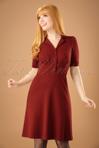 40s Milano Diner Crepe Dress in Rio Red