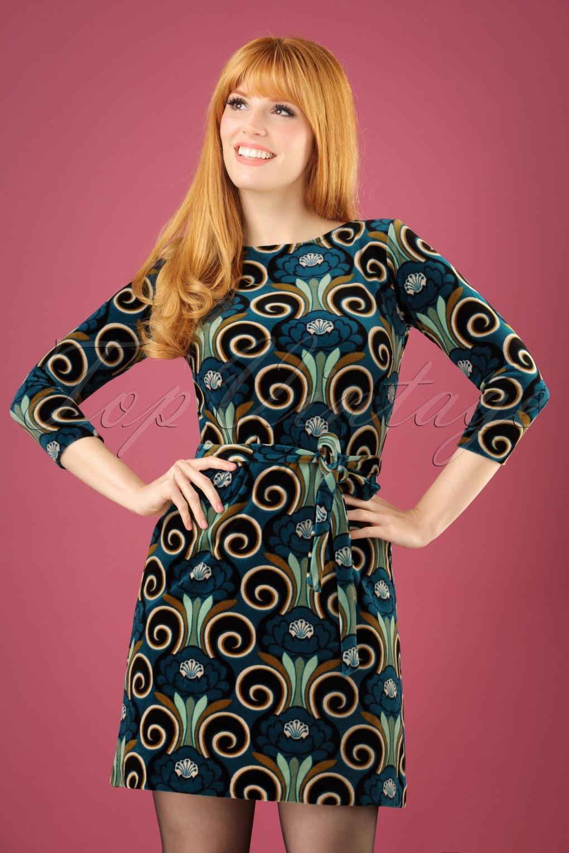 70s Zoe Fortune Dress in Orient Blue