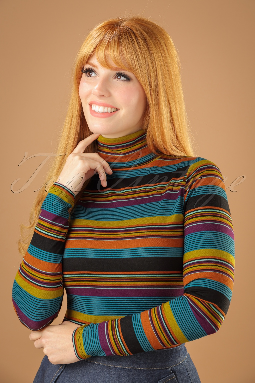 Vintage Sweaters: 1940s, 1950s, 1960s Pictures 60s Betsy Vision Rollneck Top in Lake Blue £50.00 AT vintagedancer.com