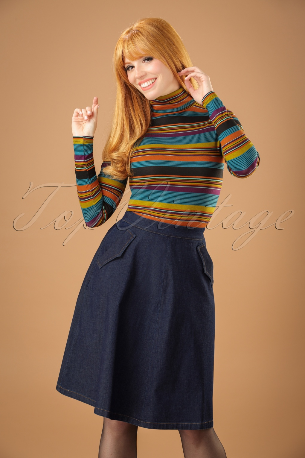 1960s Style Skirts 70s Delphi Chambray Skirt in Dutch Blue £61.73 AT vintagedancer.com