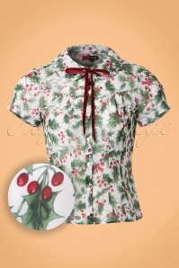 50s Holly Berry Blouse in Ivory