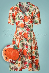 50s Harvest Swing Dress in Cream