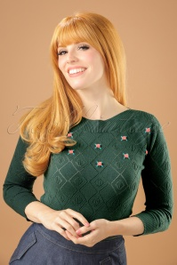 50s Audrey Serenade Top in Garden Green