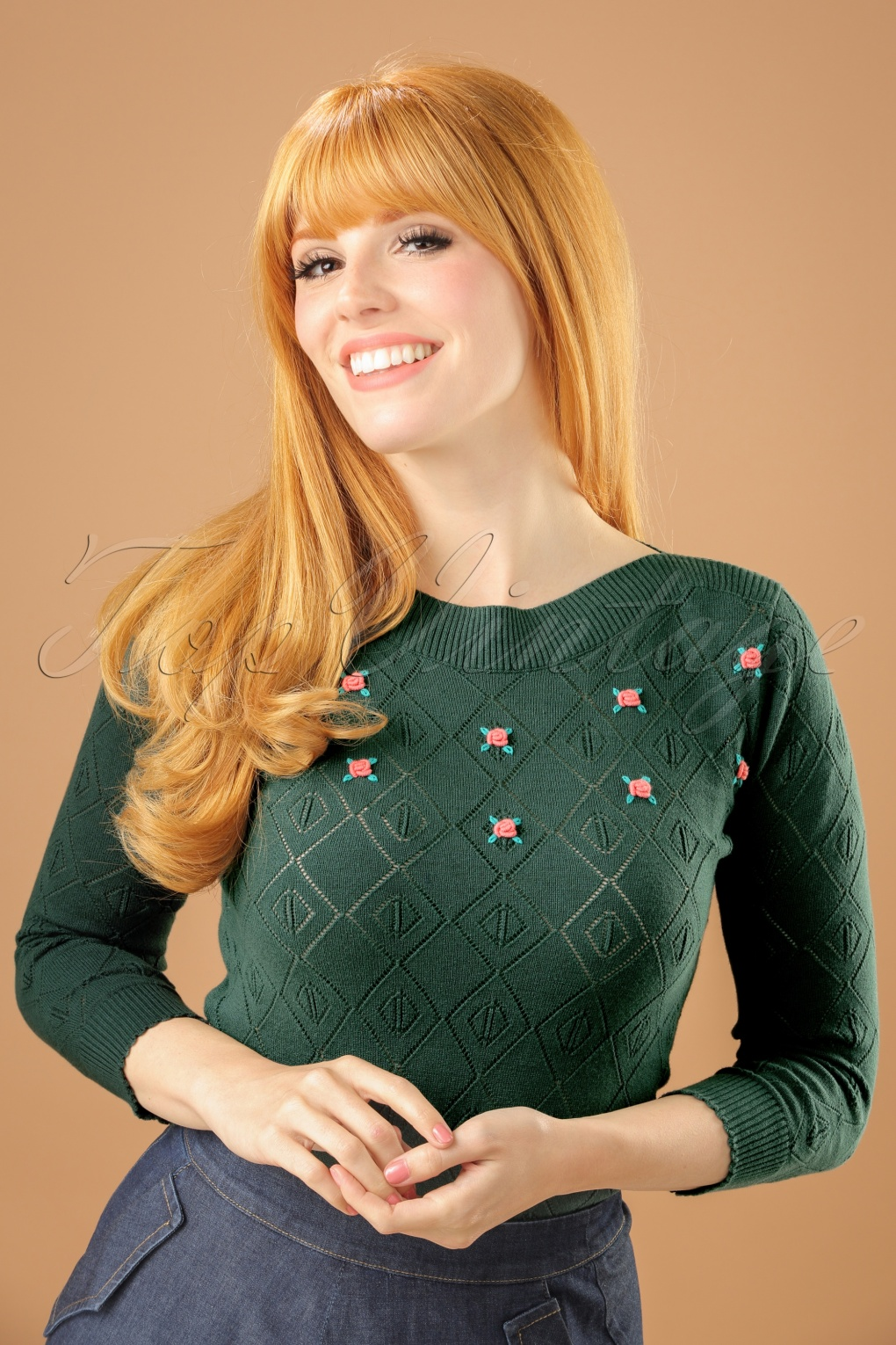 1930s Style Tops, Blouses & Sweaters 50s Audrey Serenade Top in Garden Green £72.14 AT vintagedancer.com